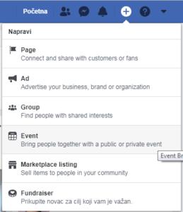 kreiranje eventa na facebooku događaj na facebooku