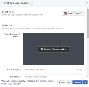 kreiranje eventa na facebooku događaj na facebooku savjeti
